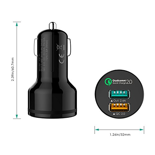 AUKEY Quick Charge 2.0 Caricabatteria per Auto, 1 Quick Charge 2.0